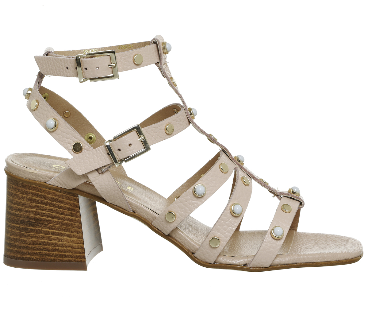 49981392416c Sentinel Womens Office Margate Strappy Block Heels Nude Leather Heels