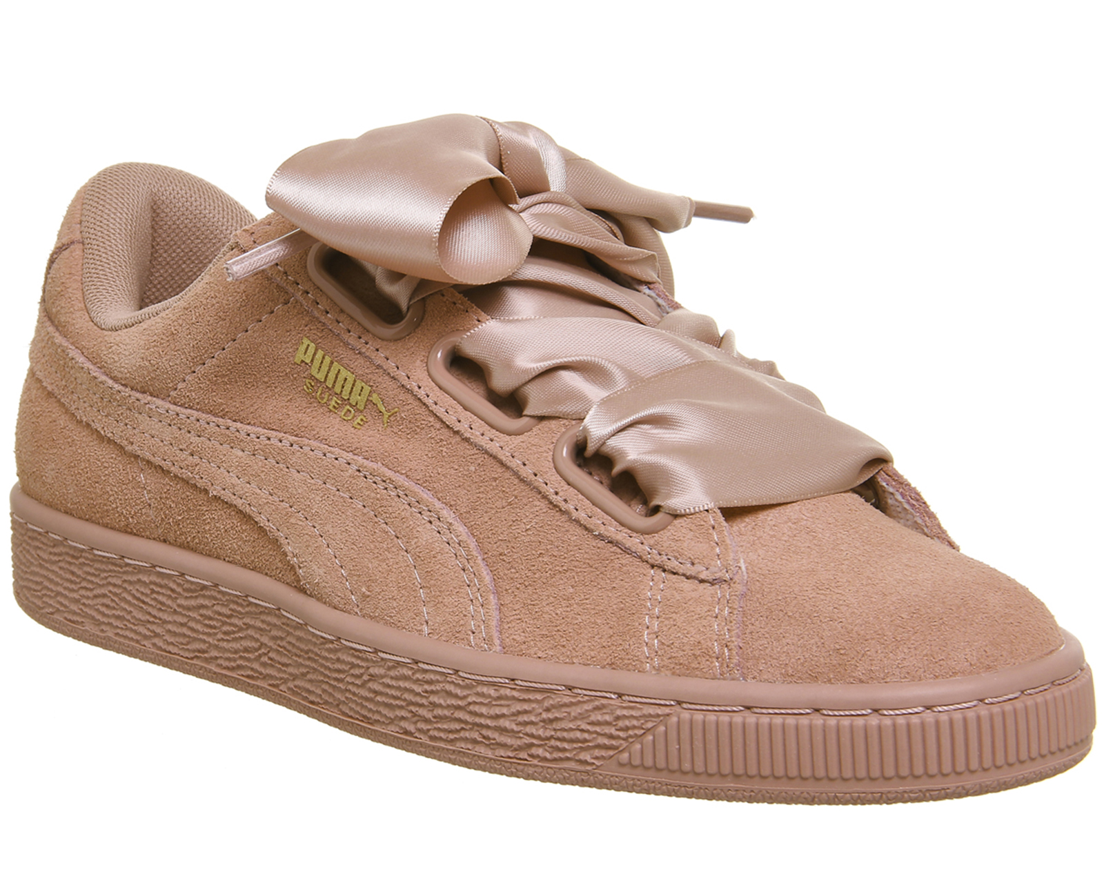 hot sale online 24445 f21ec Sentinel Womens Puma Suede Heart Trainers CAMEO BROWN SATIN BOW Trainers  Shoes