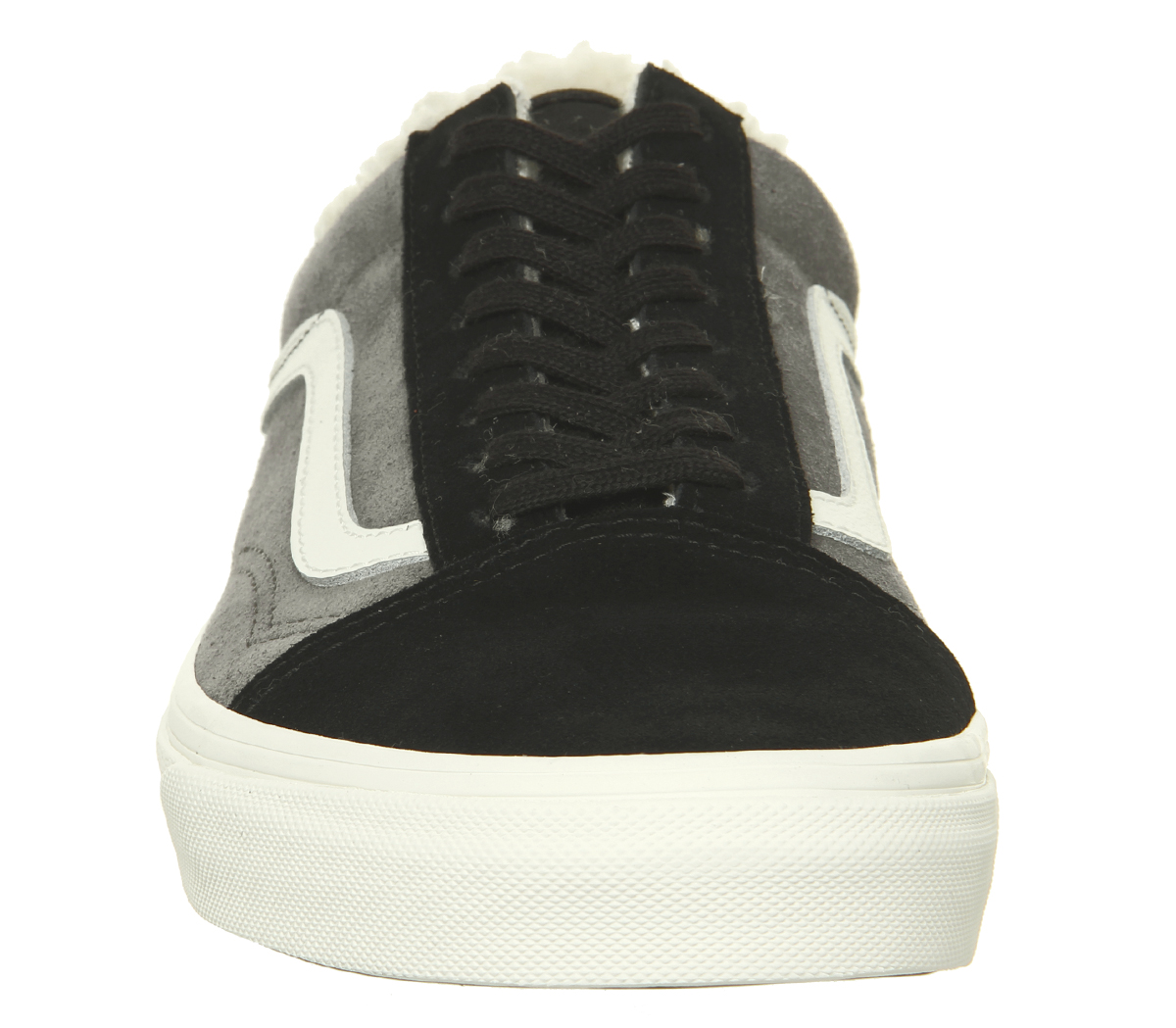 f463e94258a Mens Vans Old Skool Trainers Black Pewter Sherpa Trainers Shoes