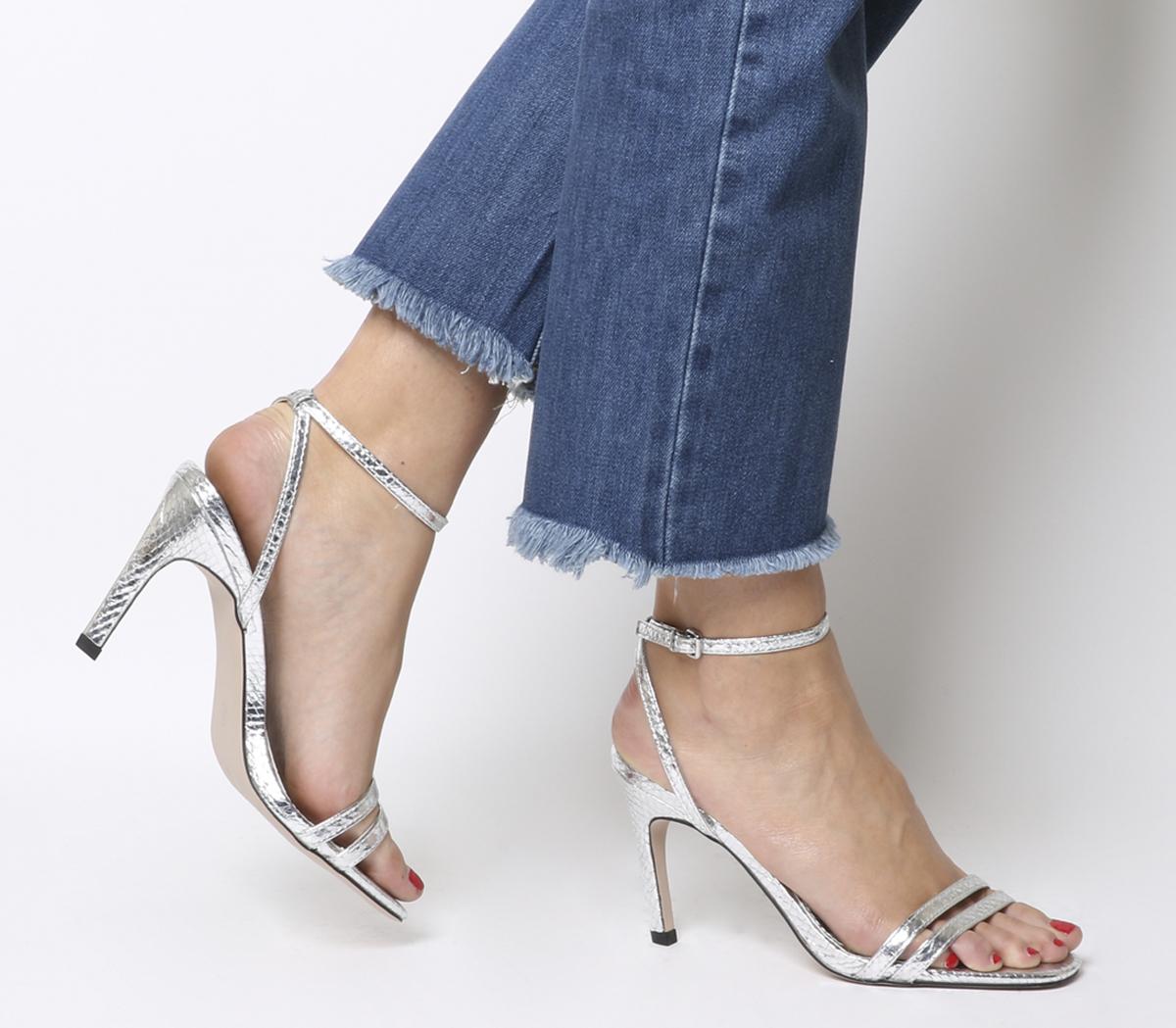 Mujer Zapatos De Tacón Puntera Puntera Puntera Cuadrada Oficina Mojito tacones de serpiente plata 0ab574