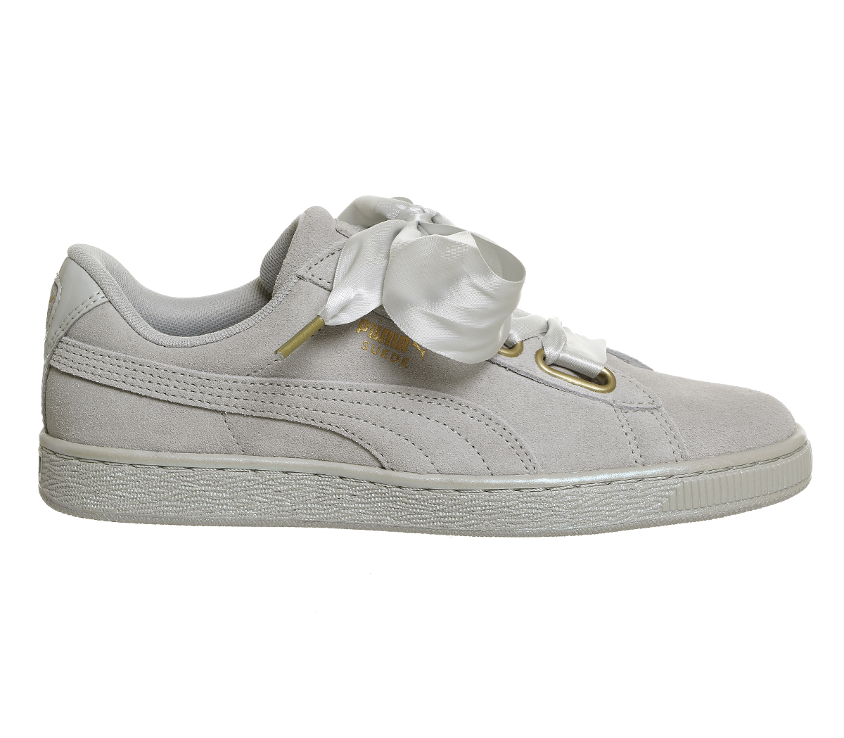 buy online 6fb9f d78a6 Details about Womens Puma Suede Heart Grey Violet Satin Trainers Shoes