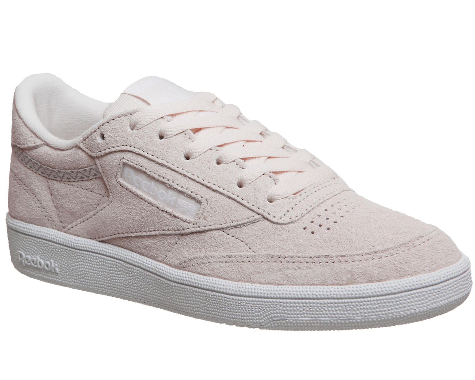 7336bef96b5ba Sentinel Womens Reebok Club C 85 PALE PINK WHITE TRIM Trainers Shoes