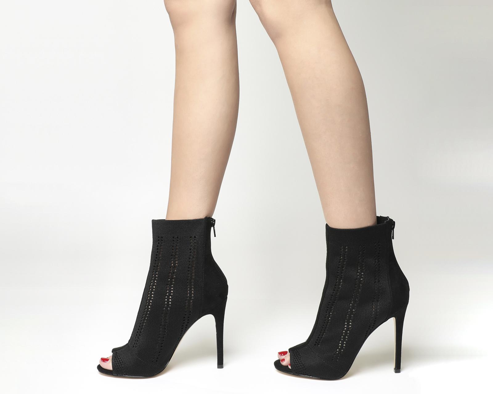 0158dee286a Sentinel Womens Office Lipstick Peep Toe Shoe Boots Black Knit Boots