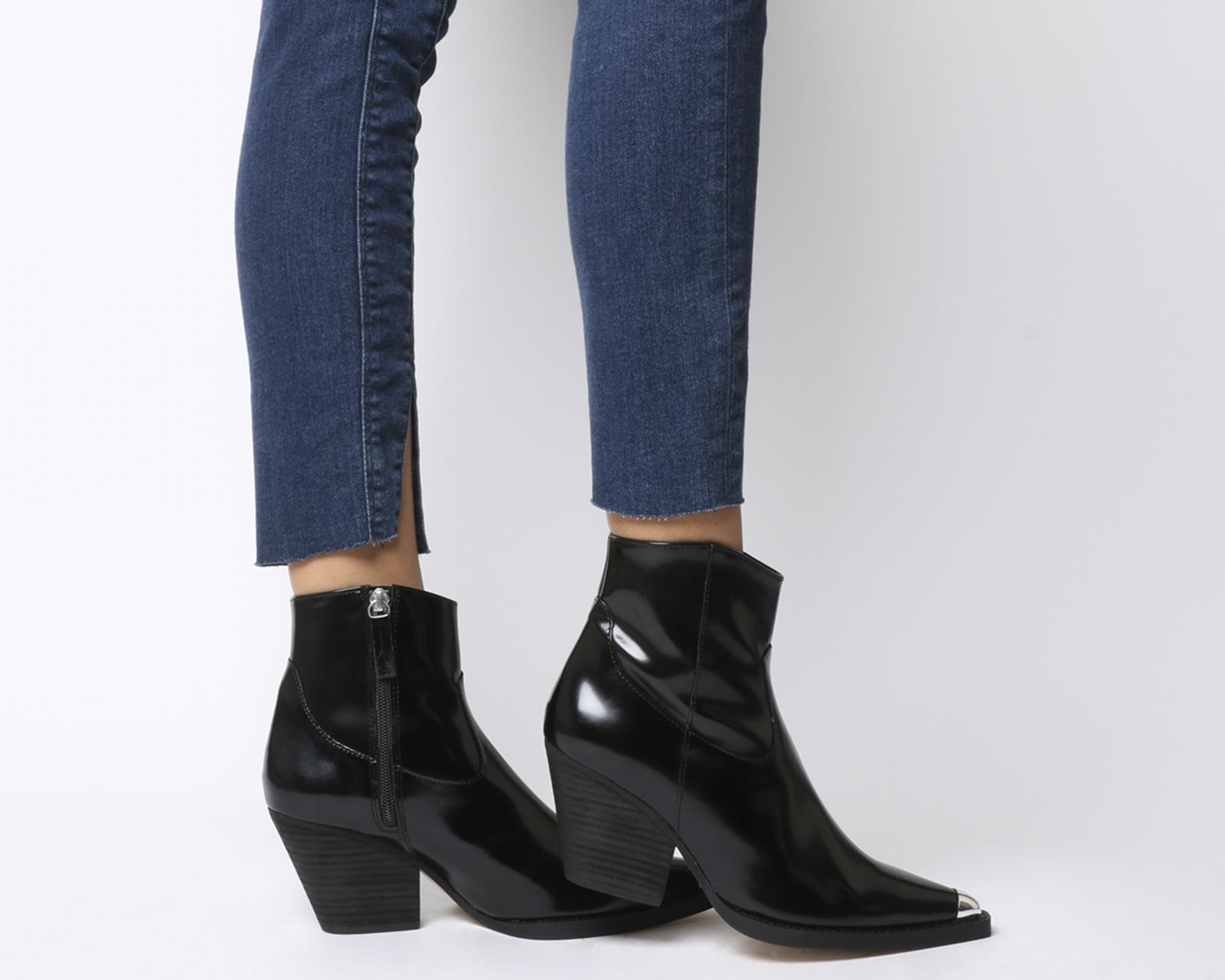 Botas para mujer extremo oeste de oficina arriba Negro Con Puntera Botas