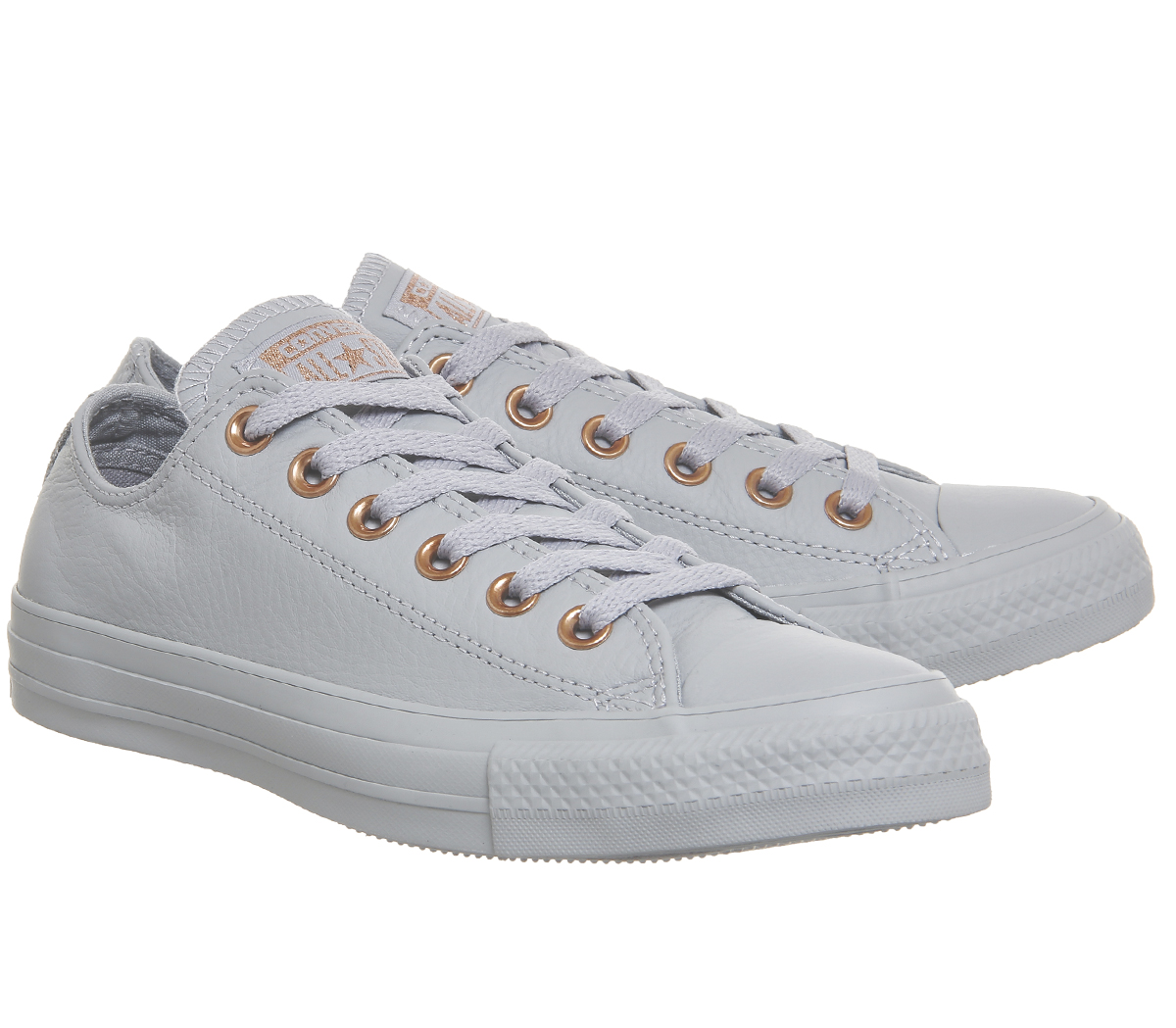 efeeb295cb79 Sentinel Womens Converse All Star Low Leather WOLF GREY BLUSH GOLD  EXCLUSIVE Trainers Sho