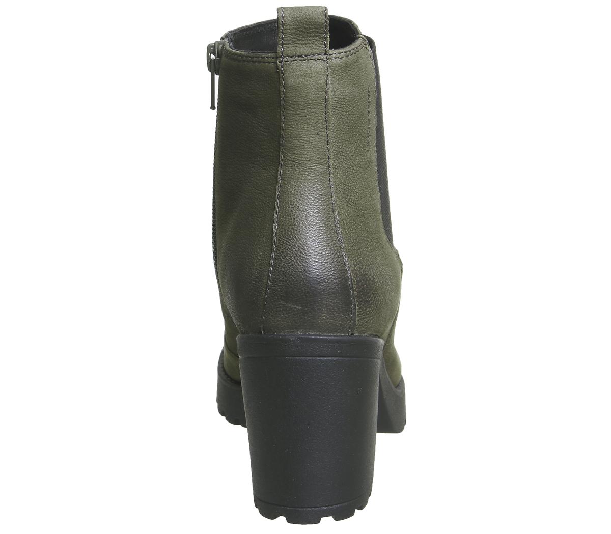 274e923e56fc Womens Vagabond Grace Heeled Chelsea Boots Dark Olive Nubuck Boots ...