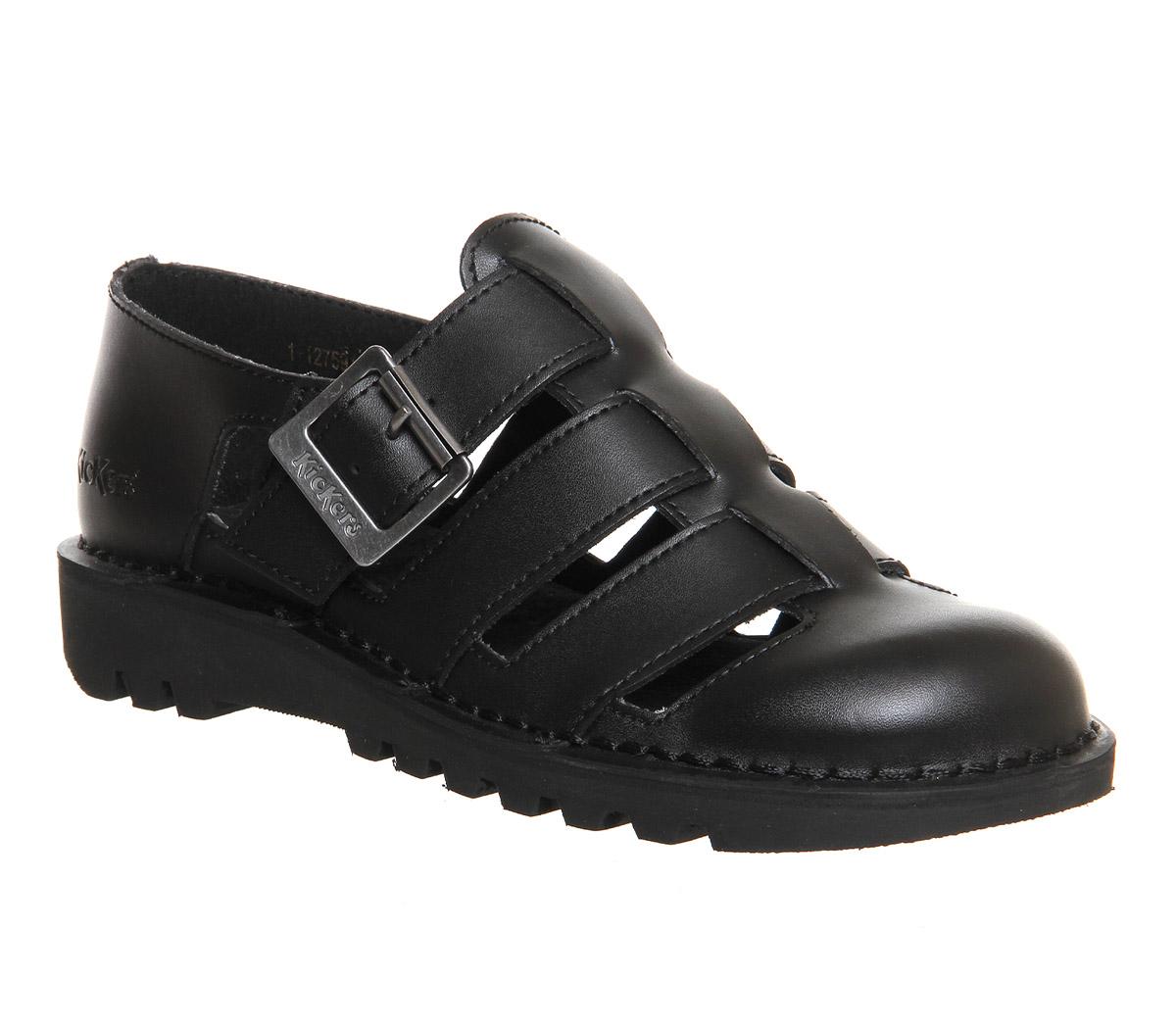 7882a6b7983 Womens-Kickers-Kick-Low-Weave-Black-Leather-Flats thumbnail