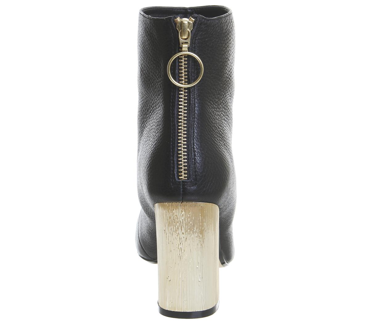 Damen Office Alaska Blockabsatz Schwarz Knöchelhohe Stiefel Schwarz Blockabsatz Leder Gold Absatz 79548e