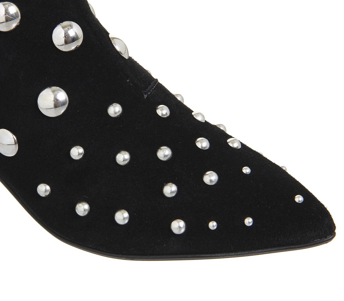 Damenschuhe Office Aruba SILVER Pointed Block Heel Stiefel BLACK SUEDE SILVER Aruba HARDWARE Stiefel 5280af