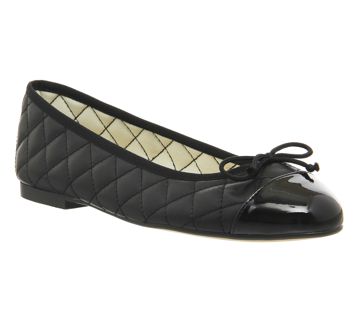 382b31e58 Sentinel Womens Office Cecilia Toe Cap Ballet Pumps BLACK LEATHER PATENT  Flats