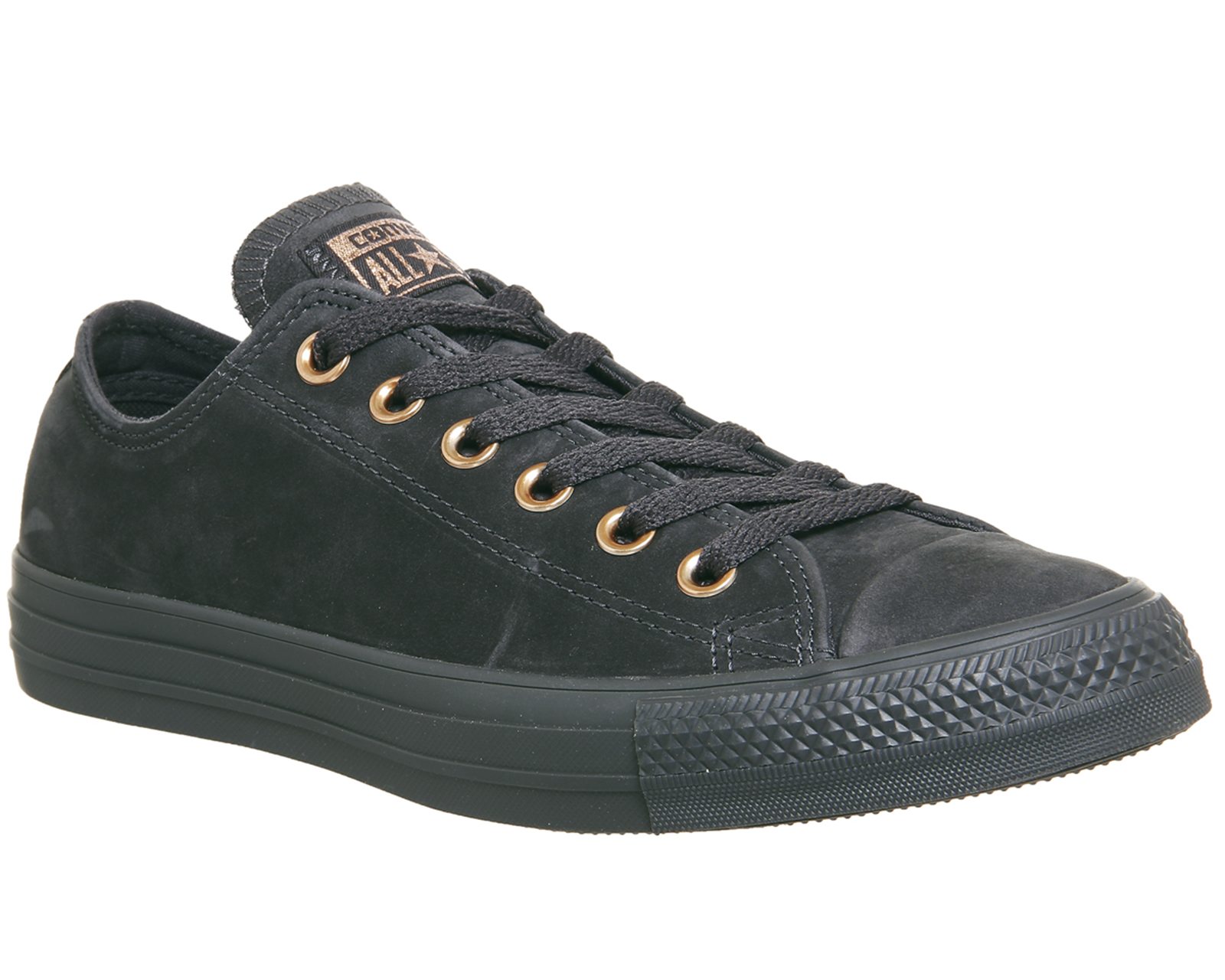 7d6962793105 Sentinel Womens Converse All Star Low Leather Almost Black Rose Gold  Trainers Shoes