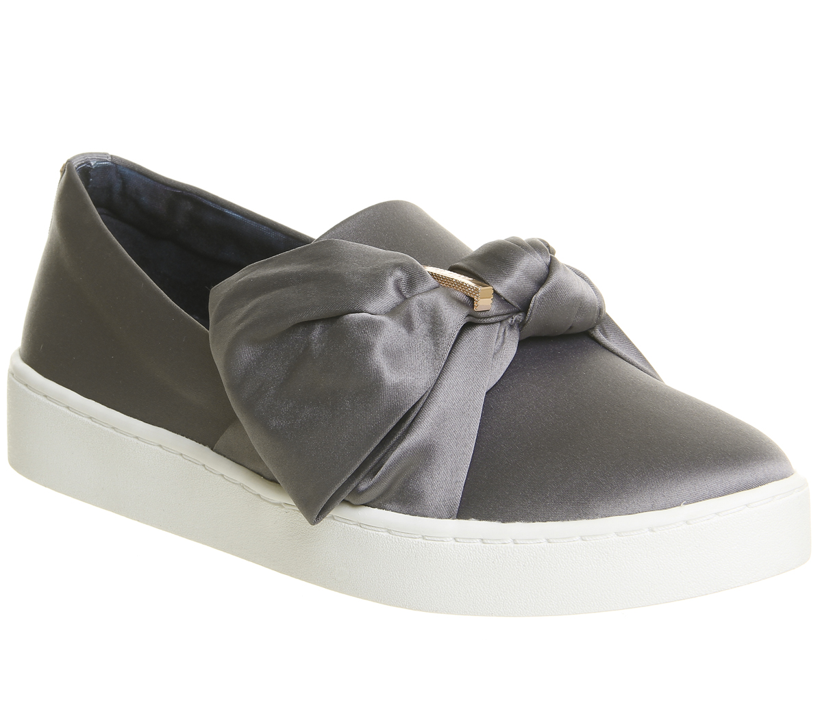 4853d5a5954a Image is loading Womens-Ted-Baker-Deyor-Bow-Sneakers-GREY-SATIN-