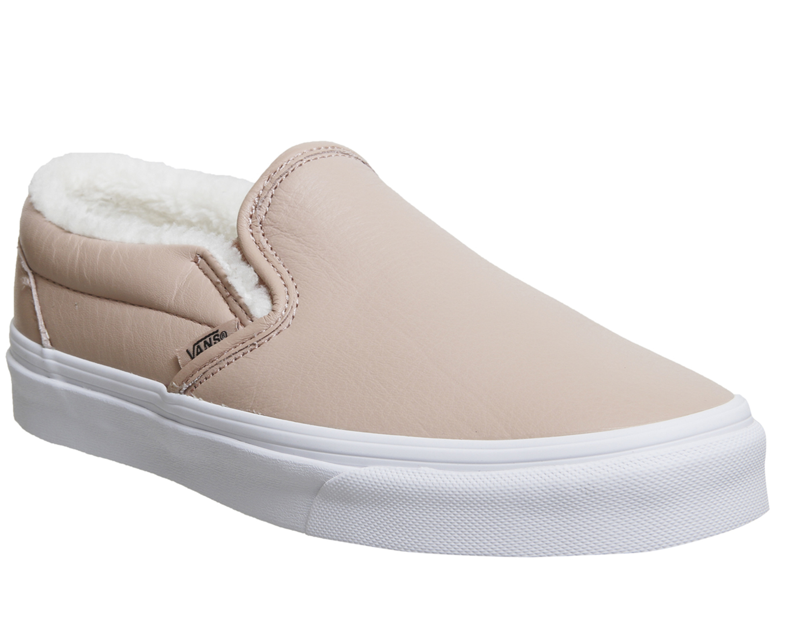 Details about Womens Vans Vans Classic Slip On MAHOGANY ROSE TRUE WHITE  SHEARLING Trainers Sho