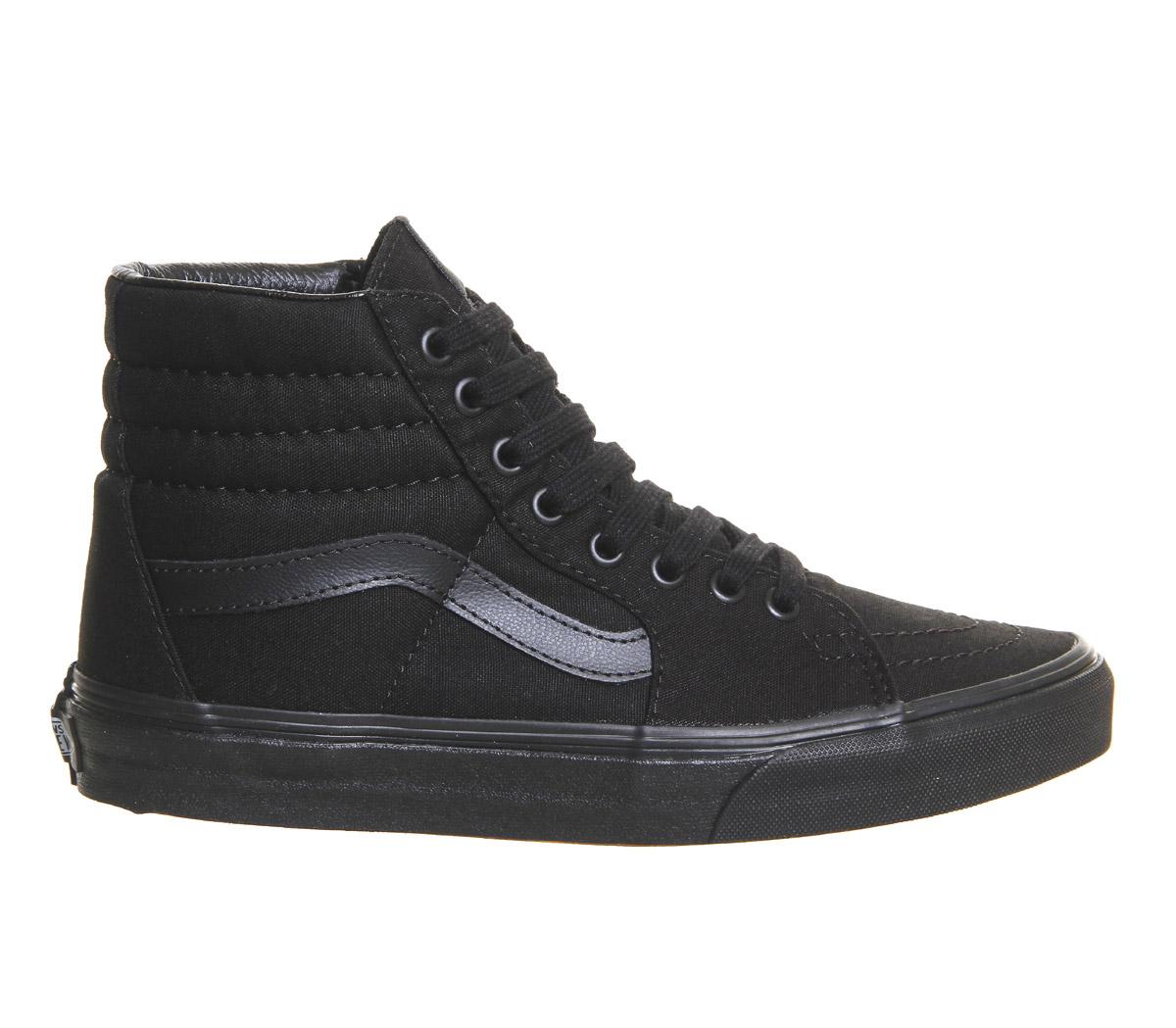Chaussures Femme Vans Sk8 Hi Noir Noir Noir Mono Baskets Chaussures ad8345