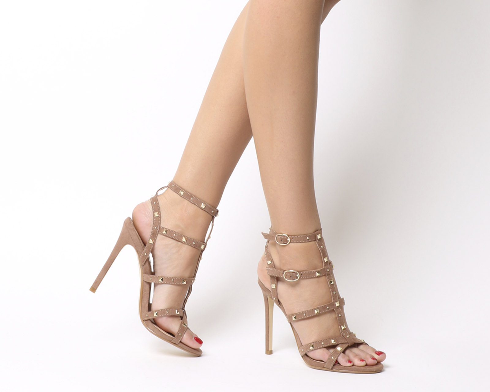 056c29e193b Sentinel Womens Office Hightide Studded Stiletto Sandals Nude Gold Studs  Heels
