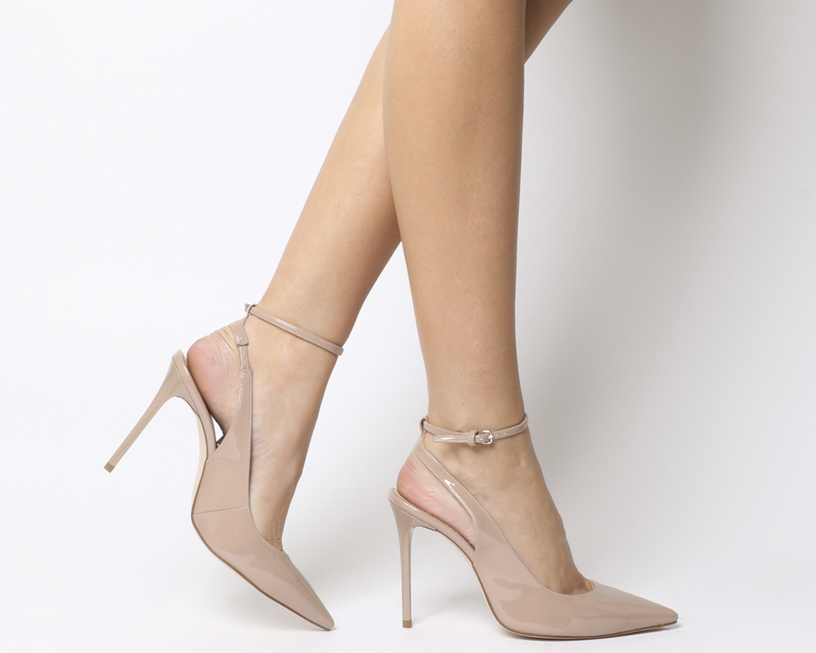 Sentinel Womens Office Hustler Ankle Strap Court Heels Nude Patent Heels