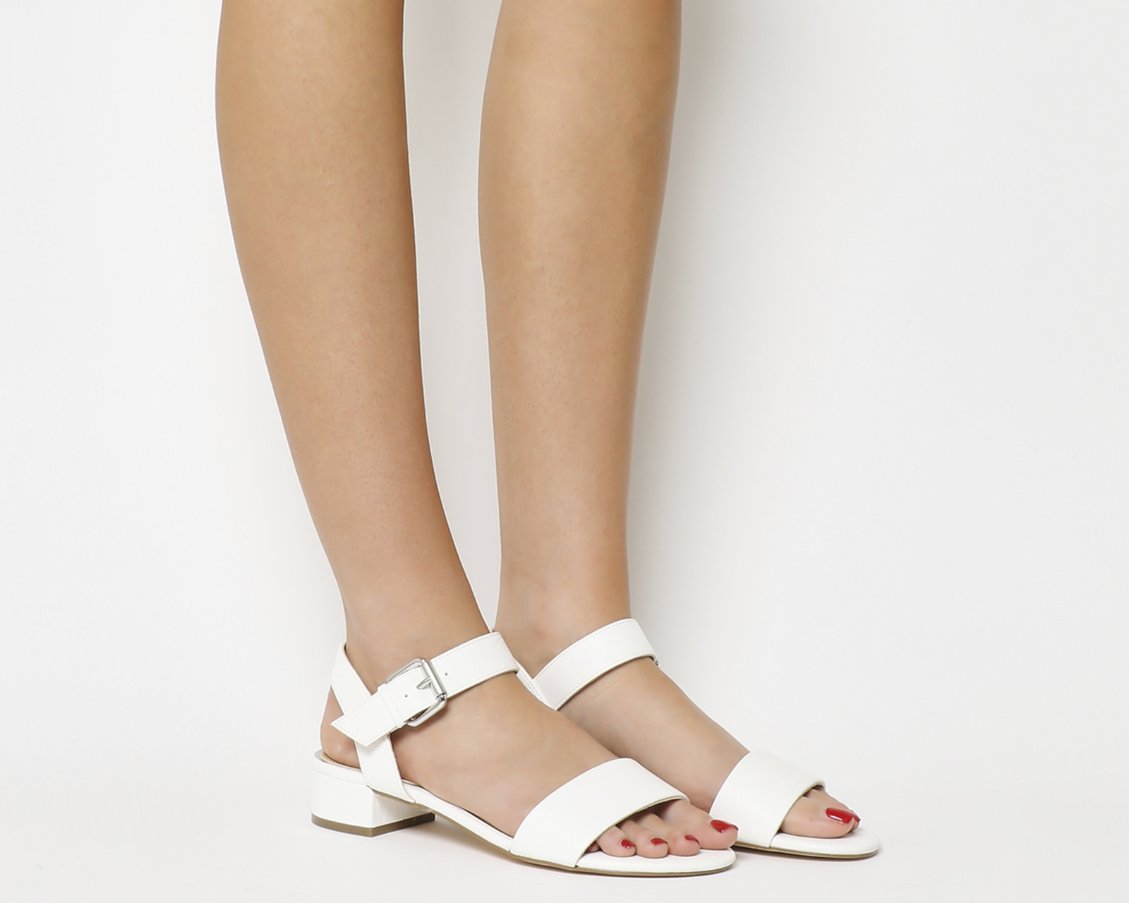 7586c5cdfbd Sentinel Womens Office Morgan Block Heel Sandals White Heels