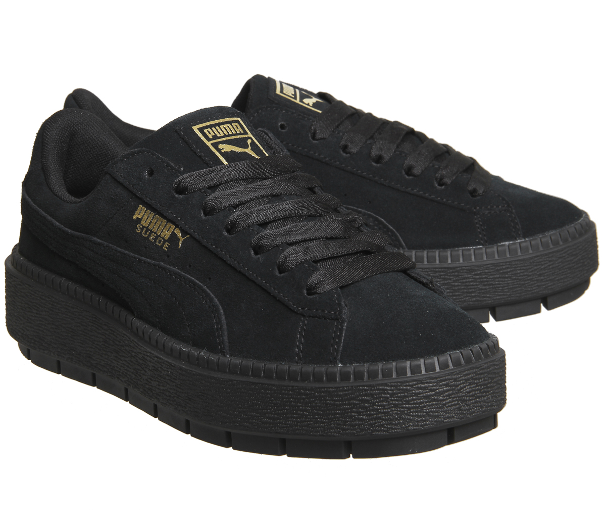 womens puma suede platform trace trainers puma black trainers shoes ebay. Black Bedroom Furniture Sets. Home Design Ideas