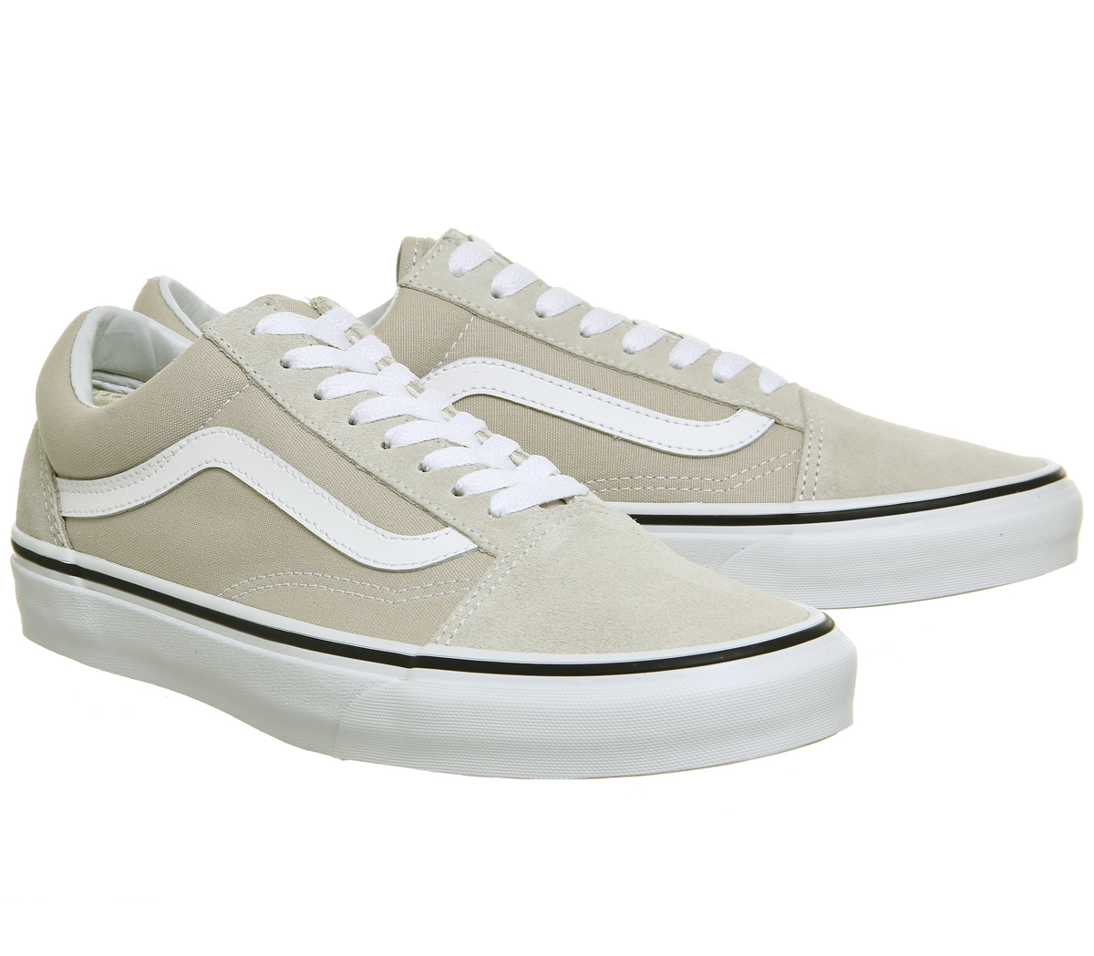 88e3b4a7ccb435 Mens Vans Old Skool Trainers Silver White Trainers Shoes