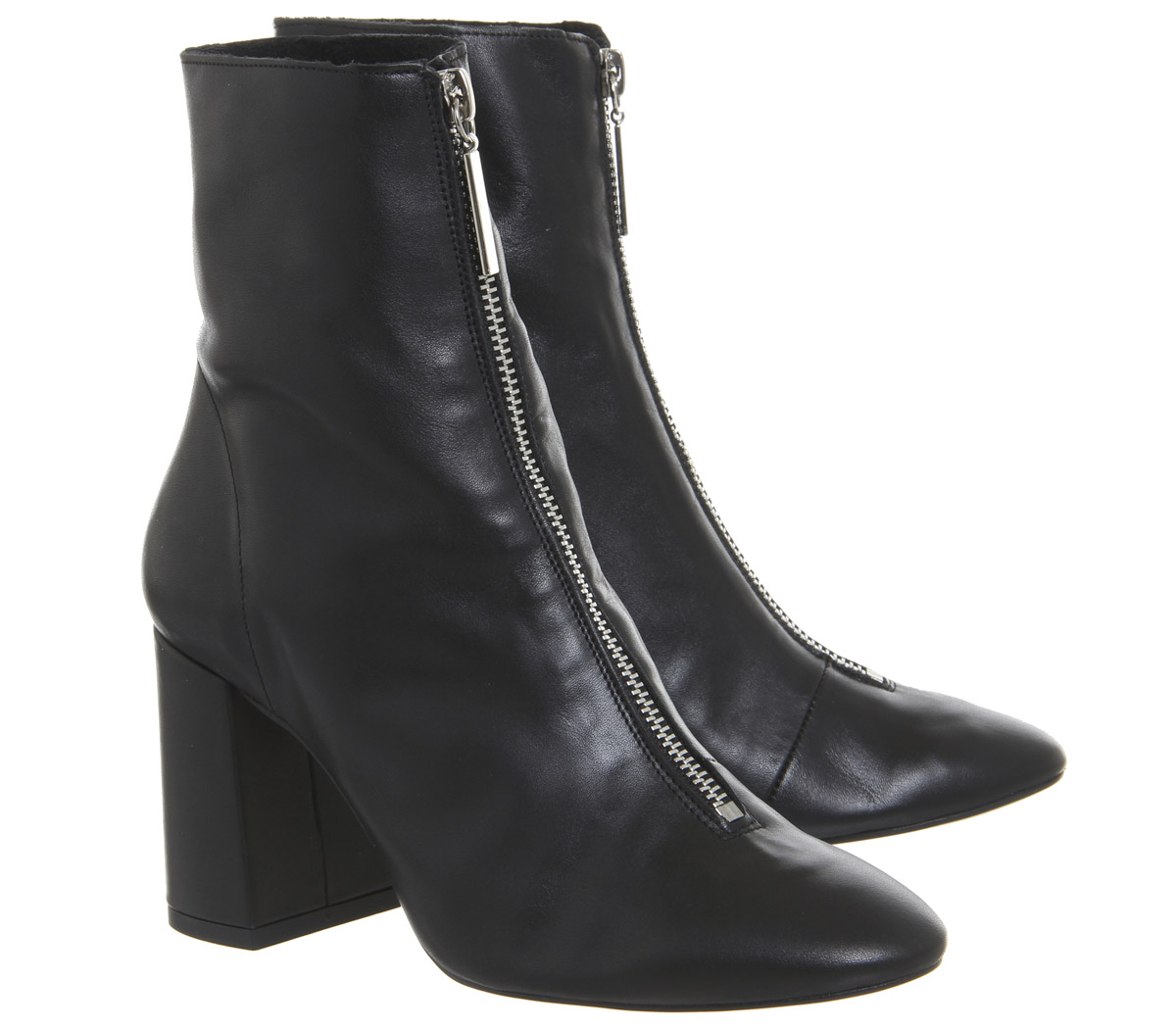 Damenschuhe Office All Sorts Front Zip Stiefel Stiefel SOFT BLACK LEATHER Stiefel Zip 04628c