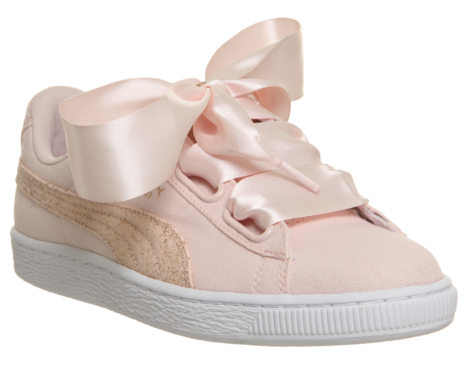 womens puma basket heart canvas trainers pearl puma white rose gold rh ebay es
