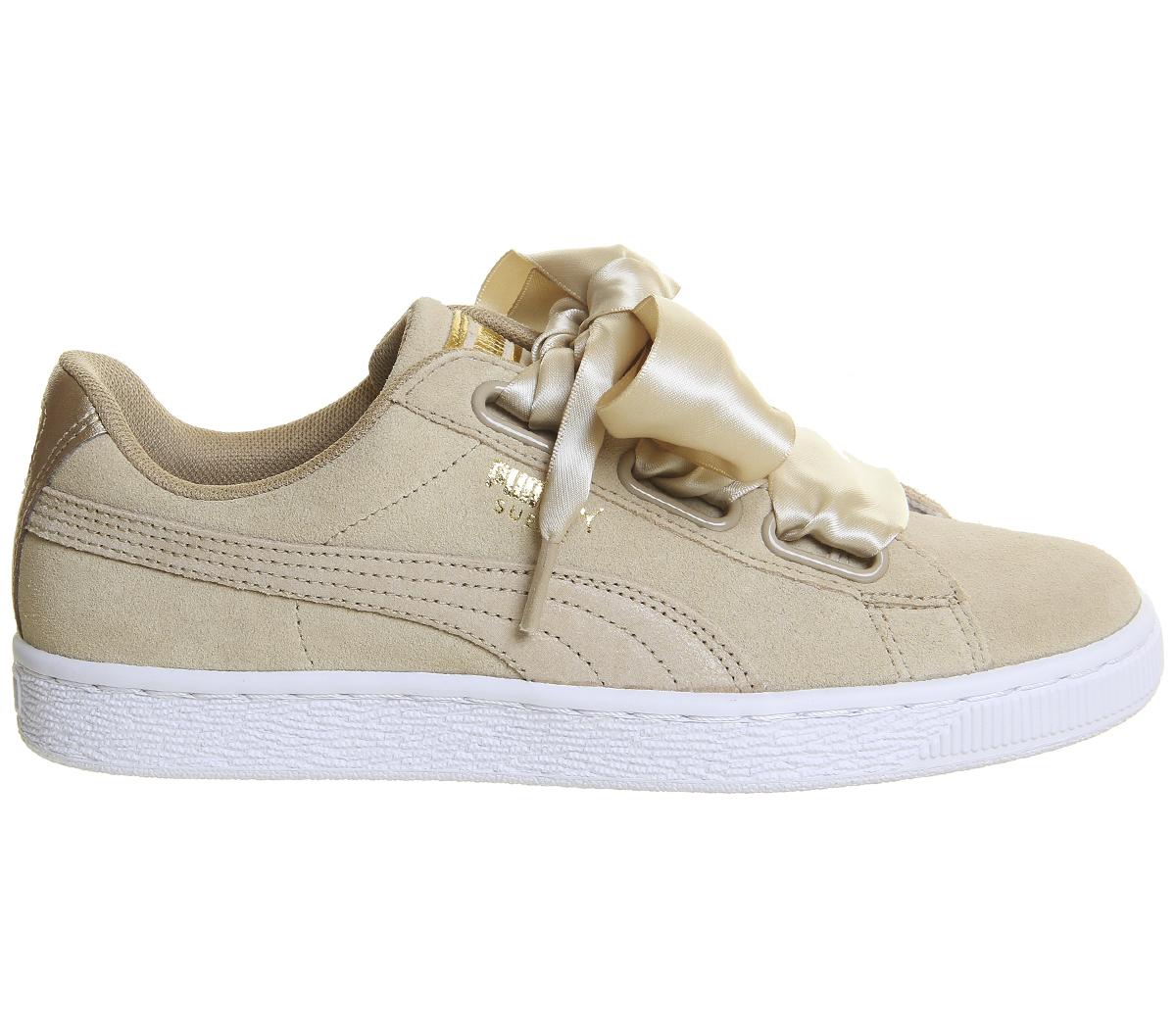 NUOVO Puma Basket Heart METALLIZZATO 364083 01 Donna Scarpe da Ginnastica Sneakers Sport Safari