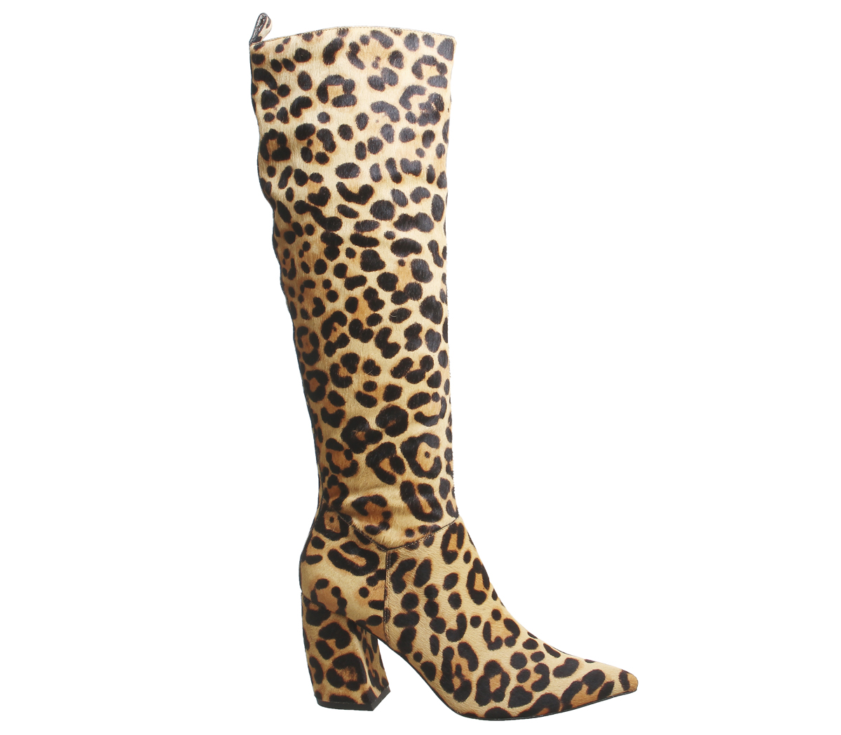 Damenschuhe Office Kiki Kiki Office Pointed Block Heel Knee Stiefel Leopard Print Cow Hair Stiefel 18bf7f