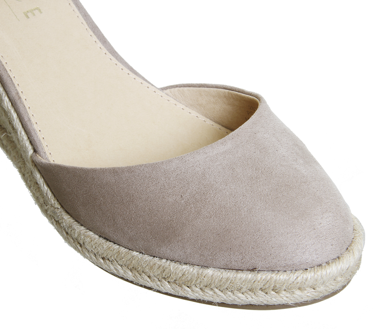 f852852a8b1 Womens Office Marsha Closed Toe Espadrille Wedges Taupe With Gold ...