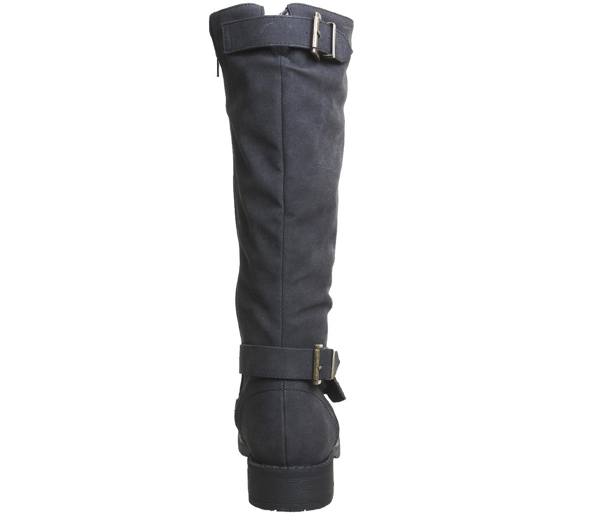 Foderato Womens Office Buckle Koala Biker nera pelliccia in Boots rXaqXRw6x