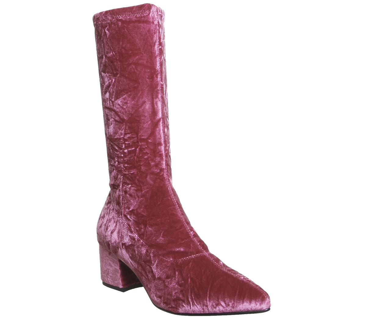 bd9149c166a6 Sentinel Womens Vagabond Mya Tall Boots Pink Velvet Boots. Sentinel  Thumbnail 2