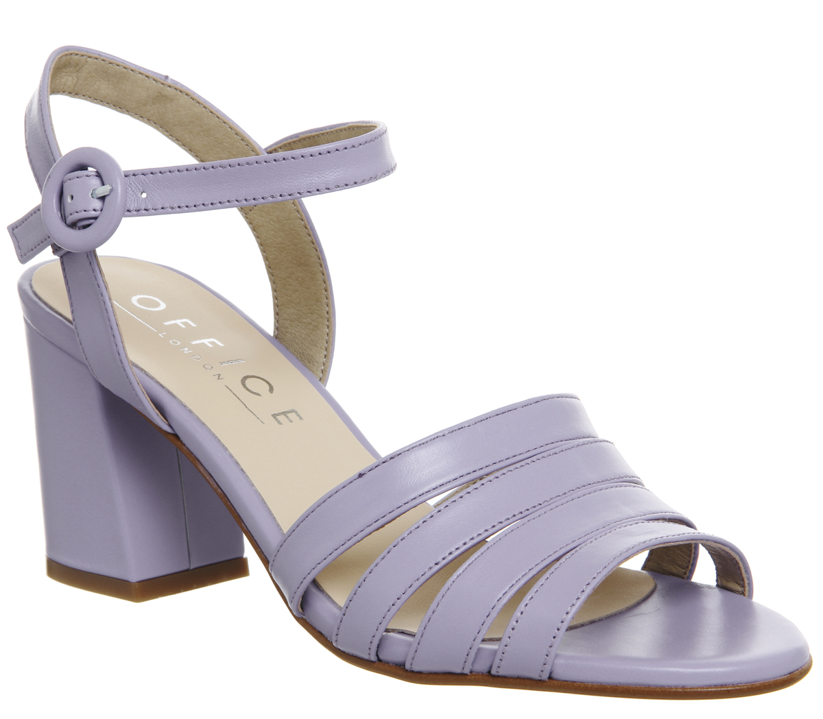 9834c0decfb0 Sentinel Womens Office Myla Strappy Mid Block Heels Lilac Leather Heels