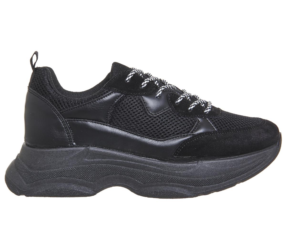 cheap for discount c67ab d3081 Para Mujer Zapatillas Con Cordones Oficina quedó Grueso Negro Material Mix  Zapatillas Zapatos 697dd9 - caminodelexito.es