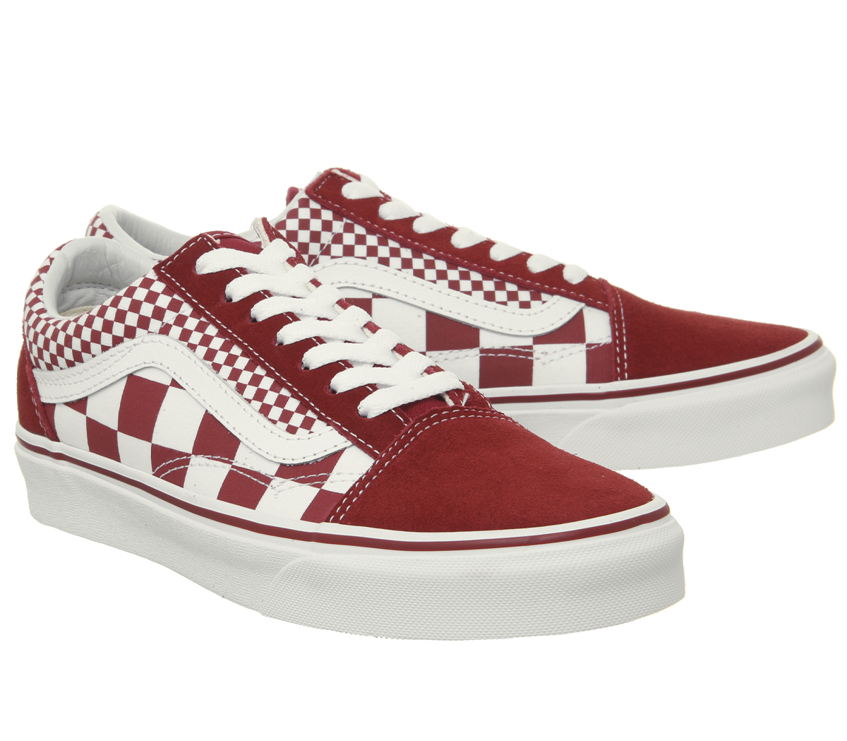 eff9d33957b Sentinel Mens Vans Old Skool Trainers Chilli Pepper Mix Check True White  Trainers Shoes