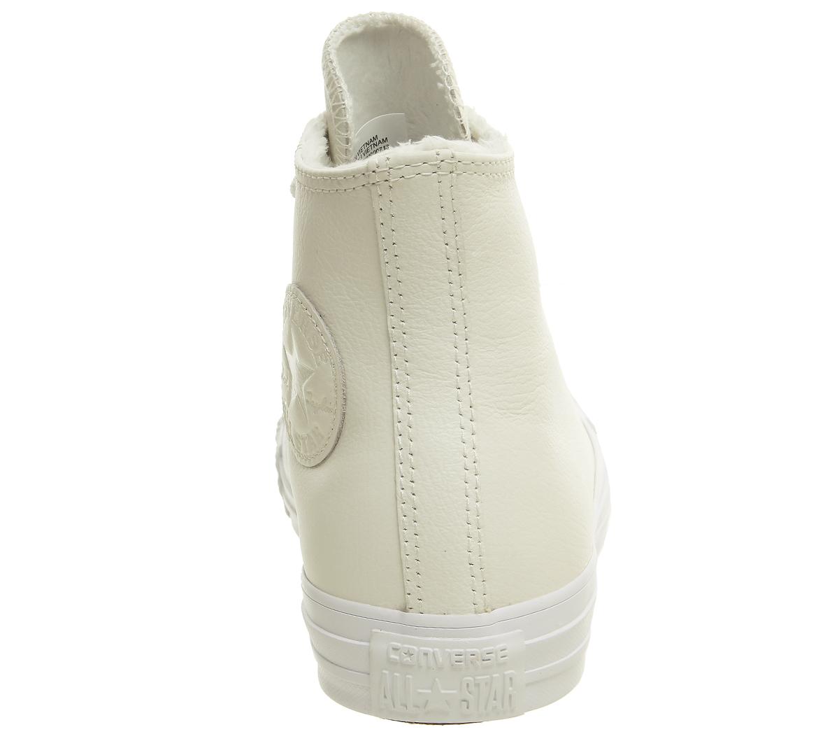Da-Donna-Converse-All-Star-Hi-Airone-bianco-in-pelle-scarpe-da-ginnastica-in-pelliccia