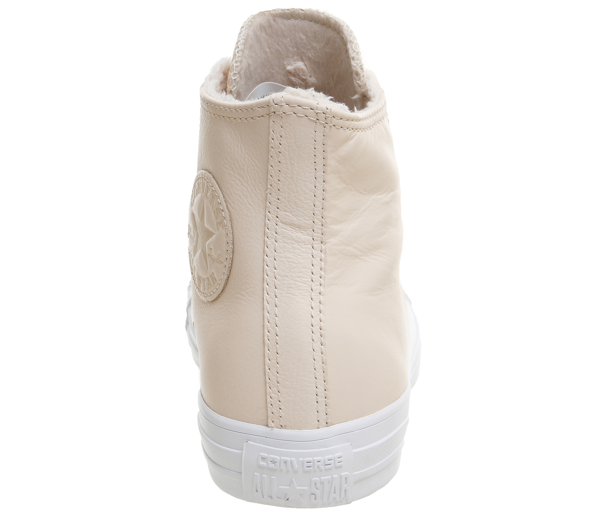 5d8038b74072 Sentinel Womens Converse All Star Hi Leather Pastel Rose Tan Fur Trainers  Shoes