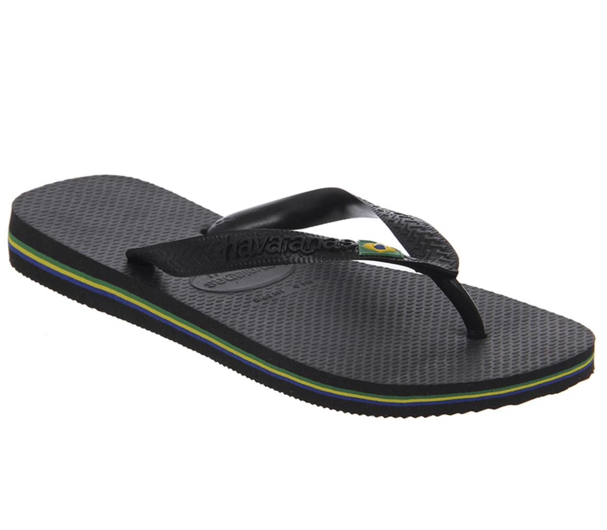 96cb43c2e Womens-Havaianas-Brazil-Flip-Flop-Black-Rubber-Sandals thumbnail