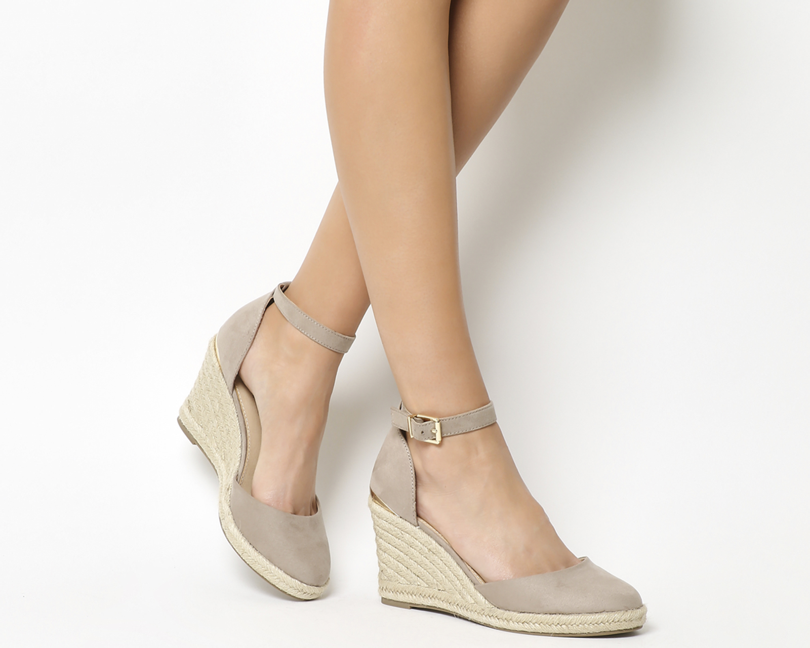 cb9919dff69 Details about Womens Office Marsha Closed Toe Espadrille Wedges Taupe With  Gold Heel Clip Heel