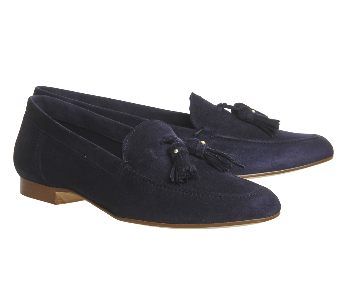Damen-Office-Retro-Tassel-Loafers-Blau-NAVY-Wildleder-Flache-Schuhe