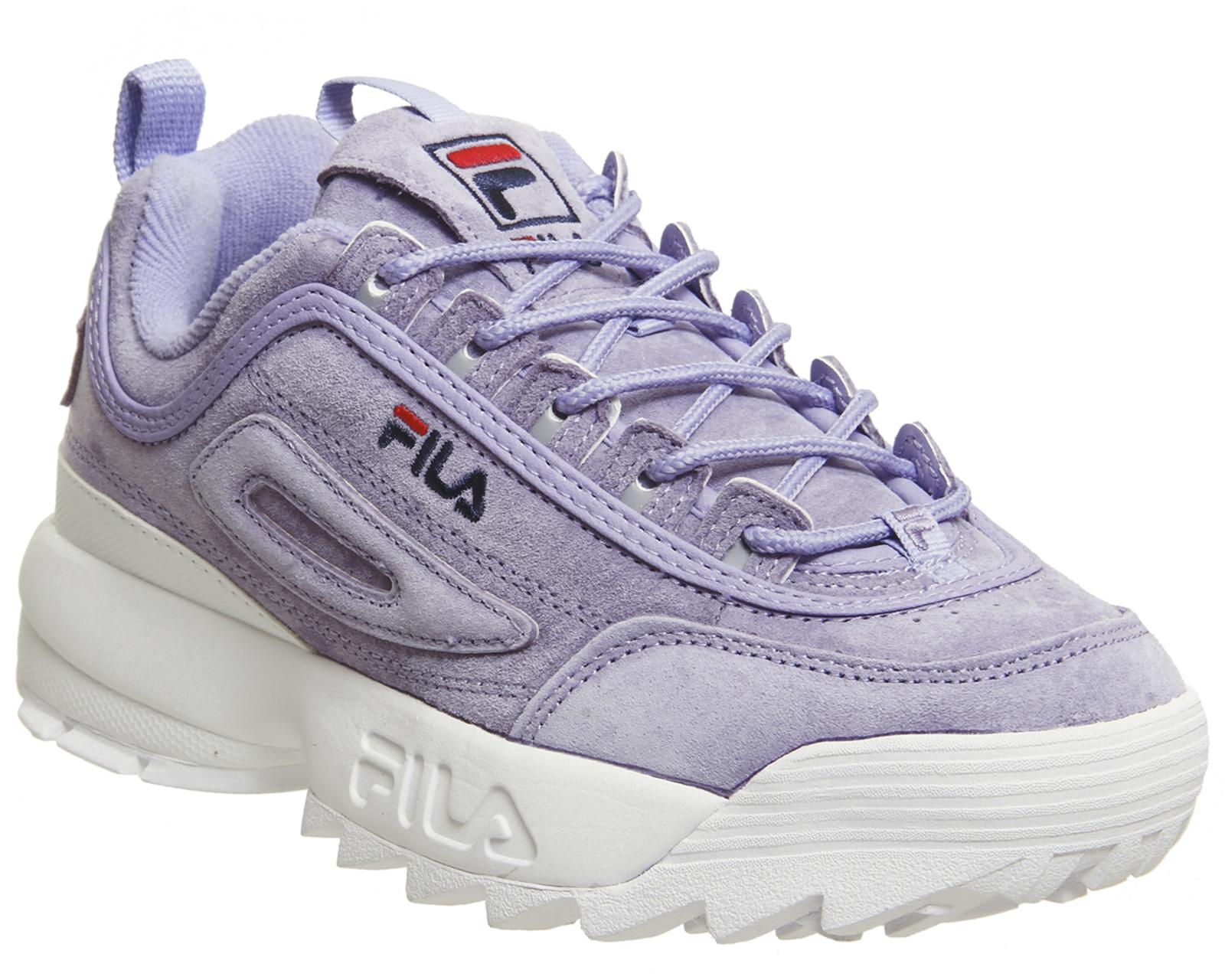 5faea5573 Detalles de Zapatillas para mujer fila Disruptor II Lila Zapatillas Zapatos  De Gamuza- ver título original