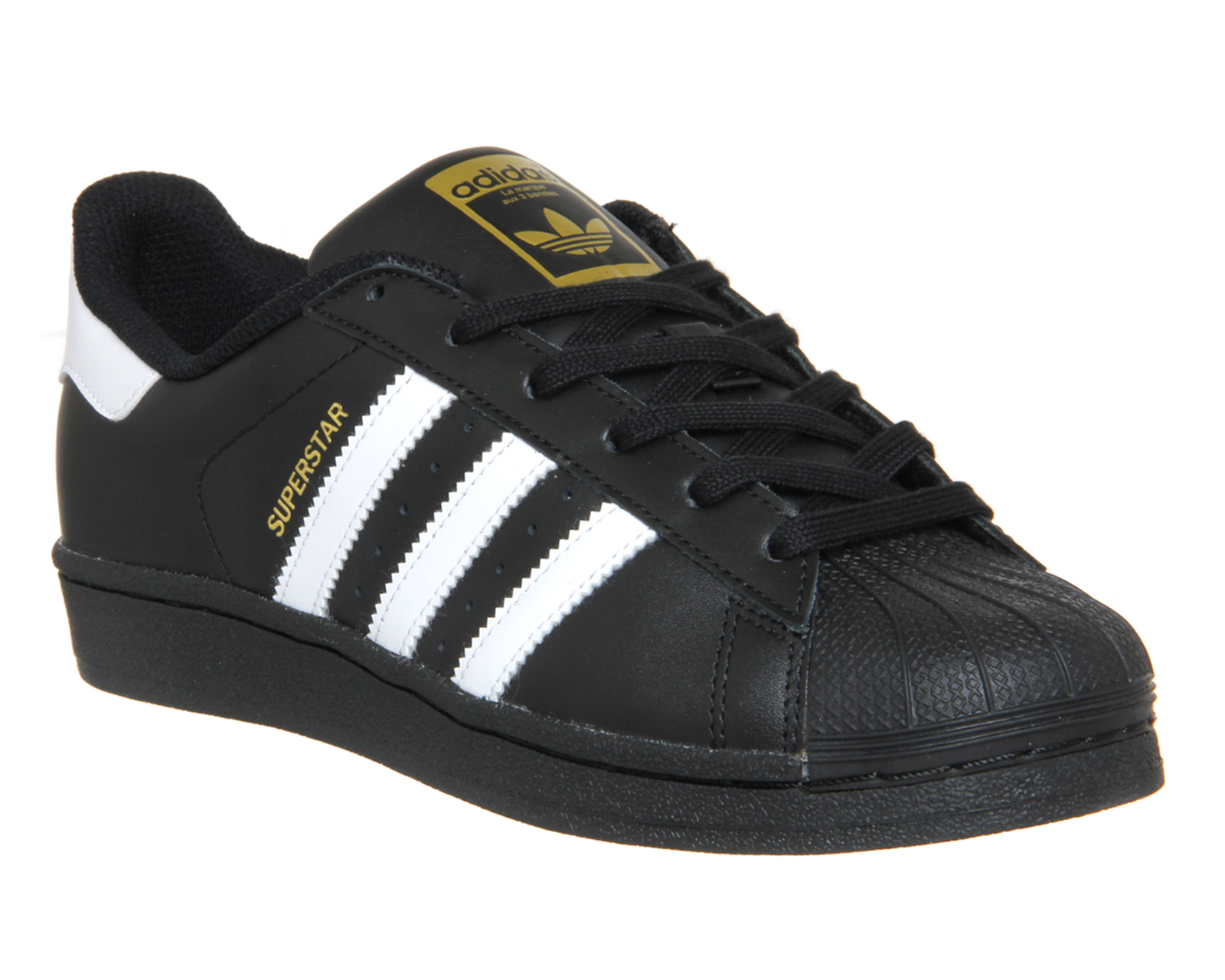 Womens-Adidas-Superstar-BLACK-WHITE-FOUNDATION-Trainers-Shoes