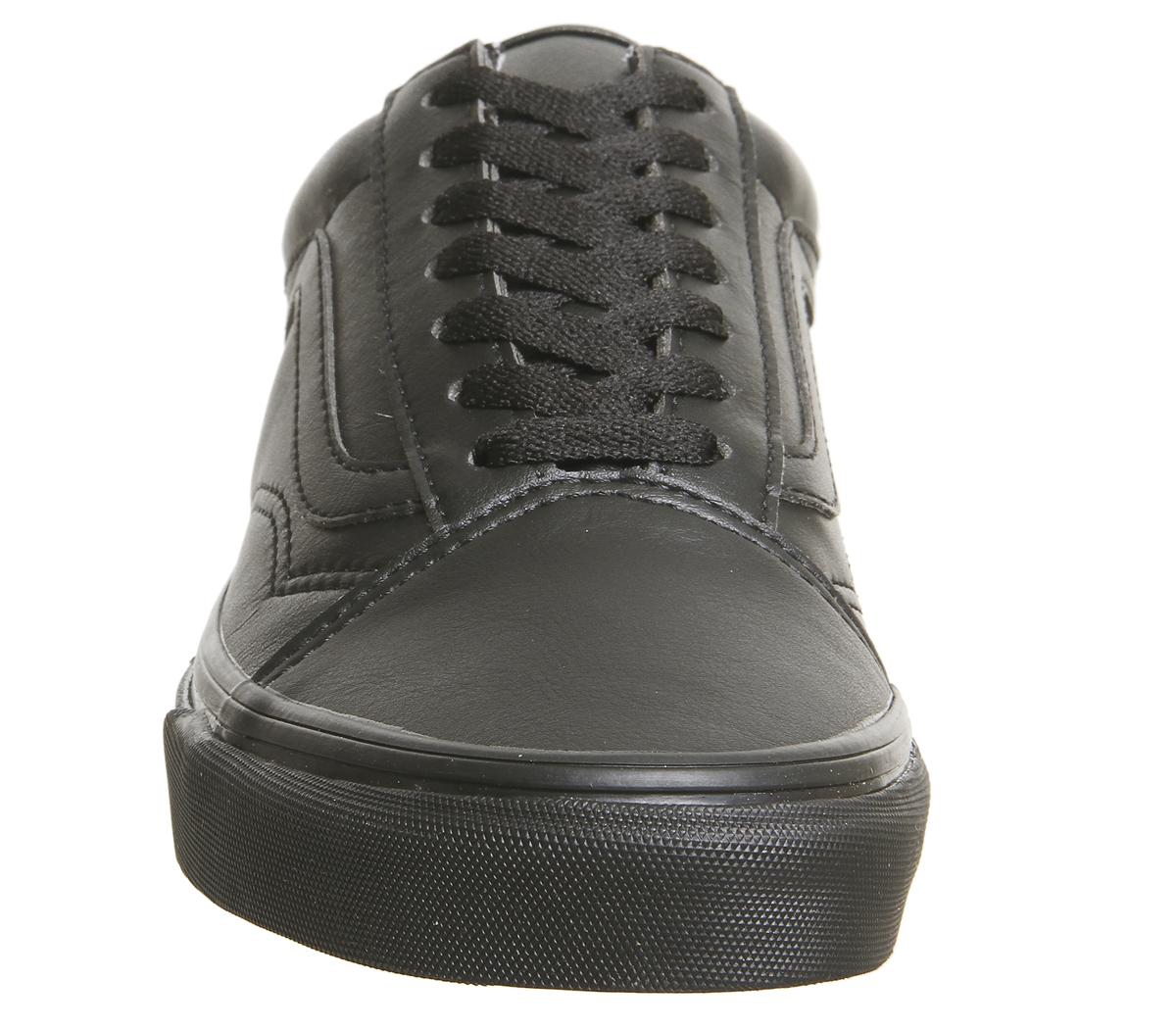 SENTINEL Mens Vans Old Skool allenatori MONO nero nero in pelle scarpe da  ginnastica scarpe ff94c9bb9de