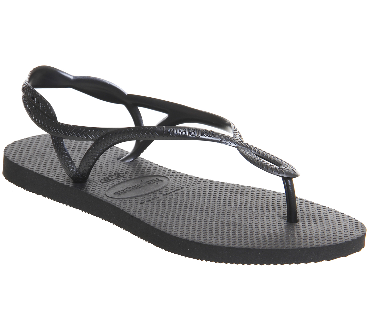 a3e69bb22d93 Sentinel Womens Havaianas Luna Flip Flops Black Sandals