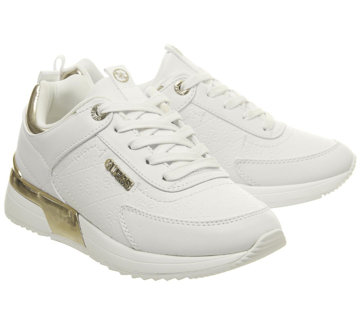 Womens Guess Guess Guess Marlyn Sneakers White gold Flats 1c0da8