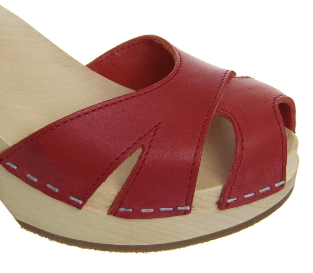 82580c650dd443 Sentinel Womens Swedish Hasbeens Suzanne Hi Peep Toe Sandals Red Sandals