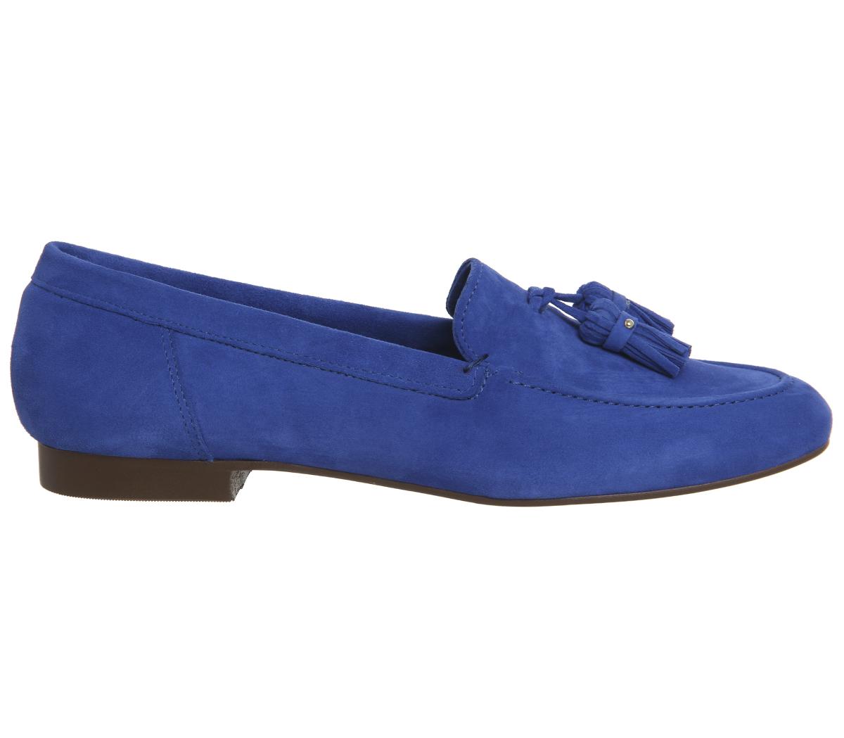 Damenschuhe Office Retro Blau Tassel Loafers BRIGHT Blau Retro SUEDE Flats 307261