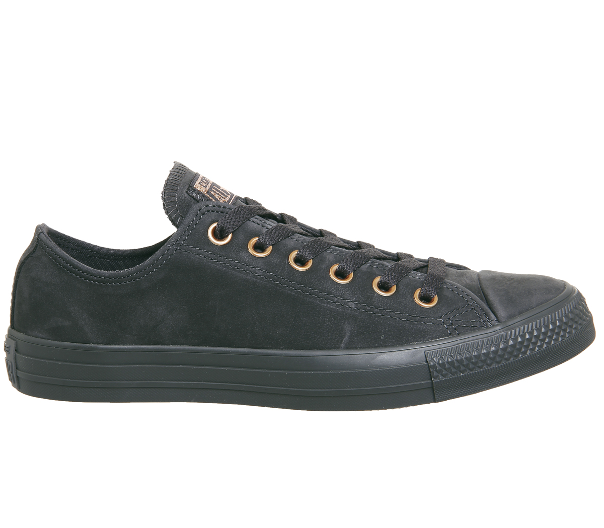 5a6c165292e079 Sentinel Womens Converse All Star Low Leather Almost Black Rose Gold  Trainers Shoes
