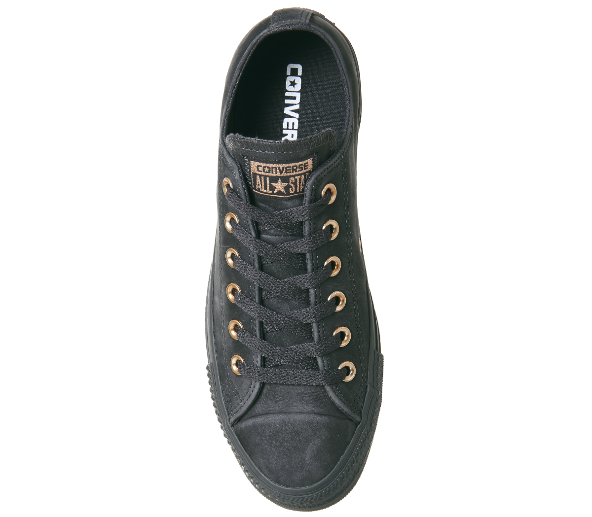 b34fc6f1f9a0ae Sentinel Womens Converse All Star Low Leather ALMOST BLACK ROSE GOLD  Trainers Shoes