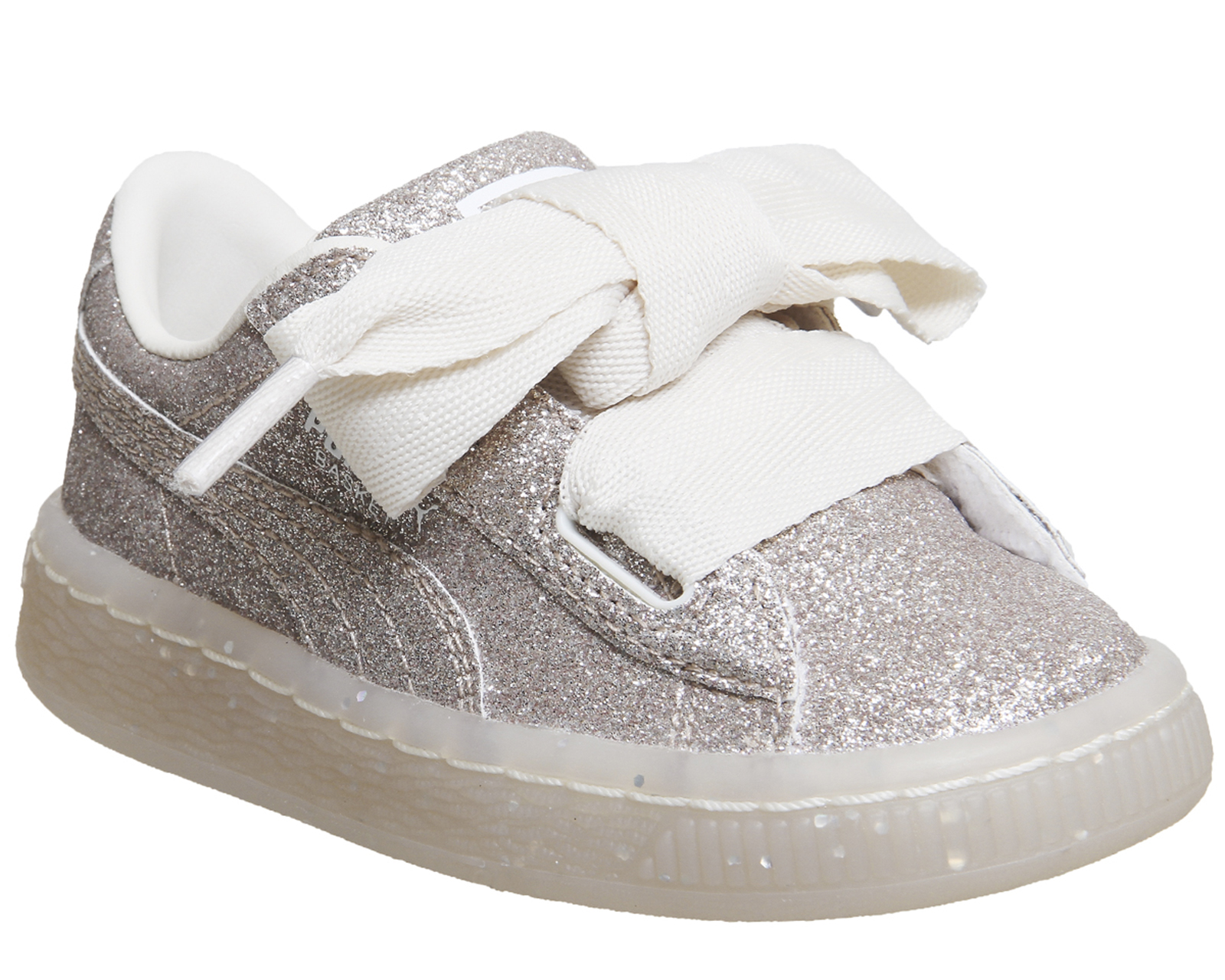 newest 33831 b60fe Details about Kids Puma Basket Heart Inf Eggnog Glitter Exclusive Kids