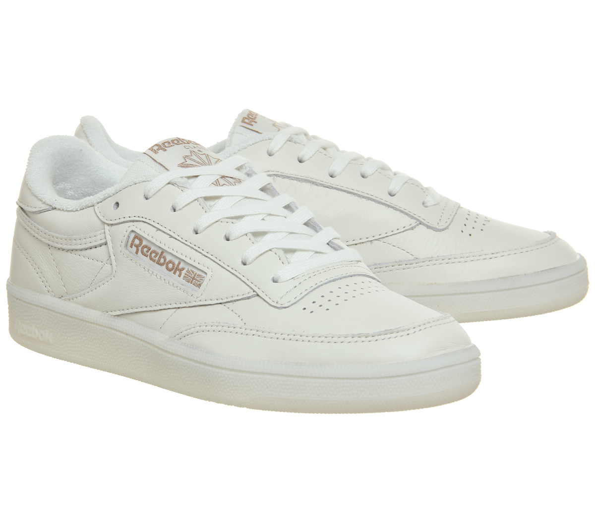 84a1fa957d5 Haut femme Reebok Club C 85 Baskets Craie Or Rose Exclusive Trainers ...