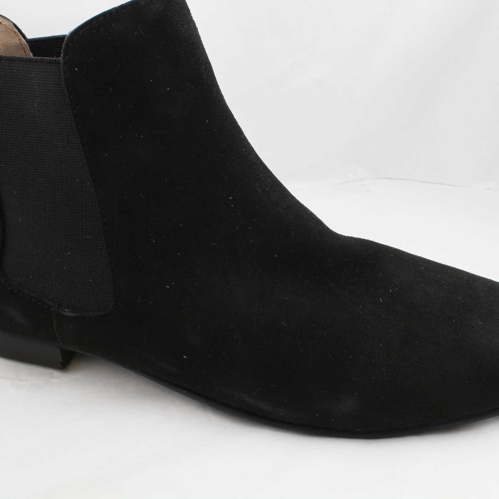 womens office black suede pull on ankle boots uk size 9